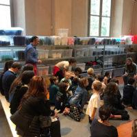 """MUBA Museo dei Bambini Milano, durante l'evento del Fuori Festival 2018 """"Presentazione de Le maschere di Pocacosa"""" con l'autore Claudio Morandini, e Anna Girardi per CAI-Salani"""