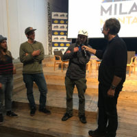 (da sx) Arianna Tricomi, Markus Eder, Eric Hjorleifson e Francesco Bertolini. Milano Montagna Festival & Fuori Festival 2018
