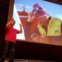 "Milano Montagna Week | ""Simone Moro. My experience exploring winter glaciers"" the opening event of Milano Montagna 2019, curated by Aldo Faleri. In the foto the alpinist discusses during the evening at the Auditorium."